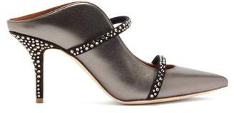 Malone Souliers Maureen Crystal-embellished Metallic-leather Mules - Womens - Dark Grey