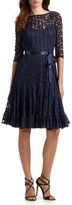 Teri Jon By Rickie Freeman Lace Pintuck Dress