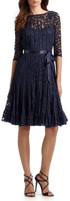Teri Jon By Rickie Freeman Lace Pintuck Dress