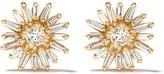 Suzanne Kalan 18kt yellow gold princess cut diamond flower stud earrings