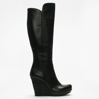 Daniel Wiser Black Leather Knee High Wedge Boots