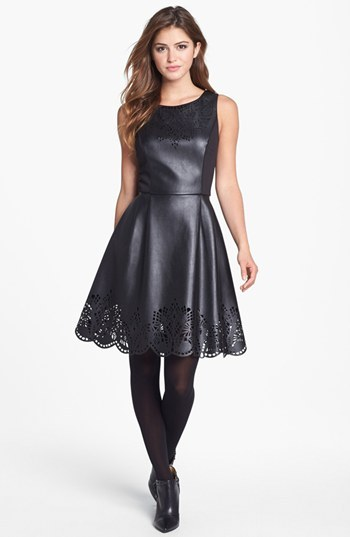 Betsey Johnson Laser Cut Faux Leather Fit & Flare Dress (Online Only)