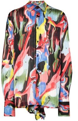 Orange Culture Sohan painted print pleated shirt