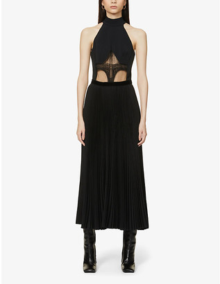 David Koma Lace-panel cotton-blend midi dress
