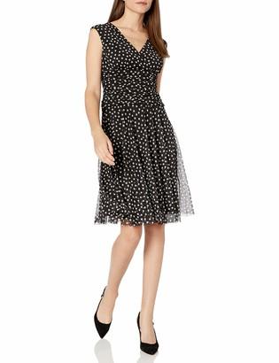 London Times Women's Cap Sleeve V Neck Fit & Flare Dress w. Drop Waist Skirt Black/White 4