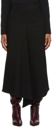 Tibi Black Denim Drape Mid Skirt