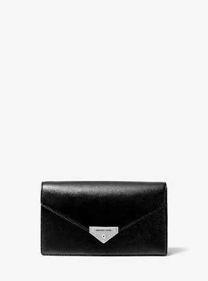 MICHAEL Michael Kors MK Grace Medium Patent Leather Envelope Clutch - Black - Michael Kors