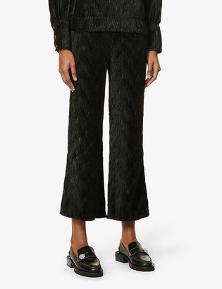 Ganni Pleated straight high-rise woven trousers