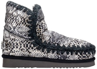 Mou Eskimo 18 Low Heels Ankle Boots In Animalier Suede