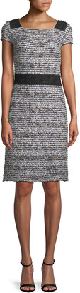 St. John Inlaid Knit Cap-Sleeve A-line Dress