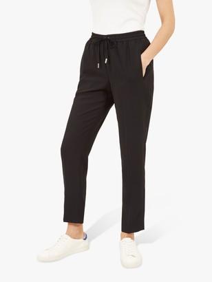 Jaeger Crepe Drawstring Trousers, Black