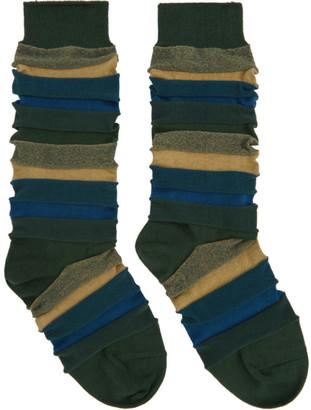 Issey Miyake Green Short Stepborder Socks