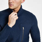 Mens Only and Sons Navy pocket roll neck jumper
