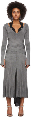 Proenza Schouler Silver Silk Knit Long Sleeve Dress