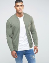 Asos Jersey Bomber Jacket In Light Khaki