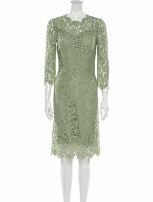 Dolce & Gabbana Lace Pattern Midi Length Dress Green