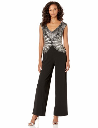 Adrianna Papell Women's Beaded Long Jumpsuit