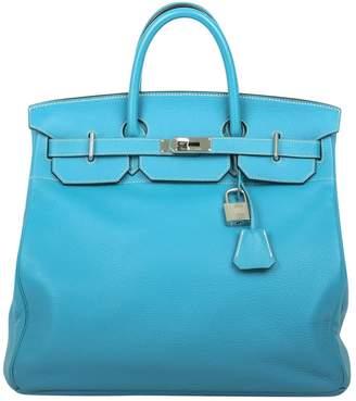 Hermes Haut a Courroies Blue Leather Travel bags