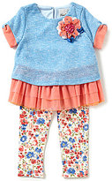 Rare Editions Little Girls 2T-6X Floral-Applique Mesh Ruffle Top & Floral Leggings Set
