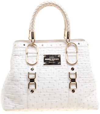 Versace White Ostrich Leather Snap Out Of It Tote