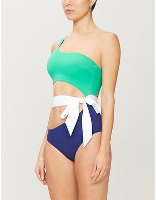 Emma Pake Fabia asymmetric colour-blocked swimsuit