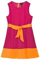 Ikks Hot Pink and Neon Orange Pleated Dress