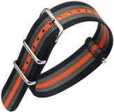 AUTULET Black/Grey/Orange Luxury Exquisite Men's one-piece NATO style Nylon Perlon Watch Bands Straps
