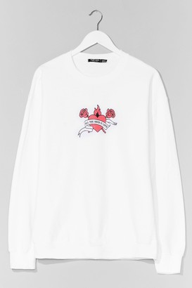Nasty Gal Womens All You Need is Love Plus Graphic Sweatshirt - White