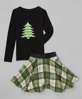 Beary Basics Black Top & Green Plaid Skirt - Infant Toddler & Girls