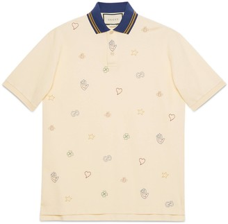 Gucci Cotton polo with symbols embroidery