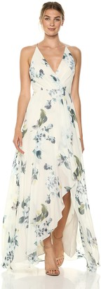 Jenny Yoo Women's Farrah Halter Faux Wrap Floral Chiffon Gown