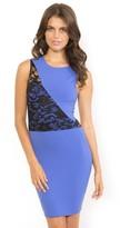 Donna Mizani Splice Lace Dress in True Blue