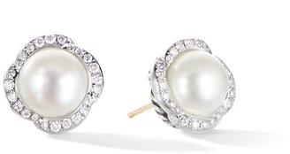 David Yurman Continuance Near Round Cultured Freshwater Pearl & Pave Diamond Stud Earrings