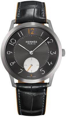 Hermes Slim d'Hermes, Titanium & Alligator Strap 39.5 mm