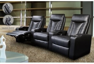 Wildon Home St. Helena Home Theater Row Seating (Row of 3 Fabric: Black Faux Leather