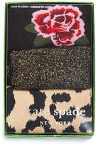 Kate Spade Rose Leopard Metallic Mid-Calf Socks, Set of 3