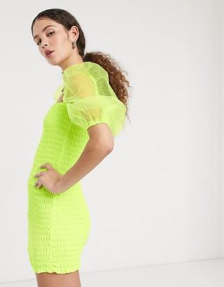 Kikiriki shirred mini dress with sheer organza sleeve in neon yellow