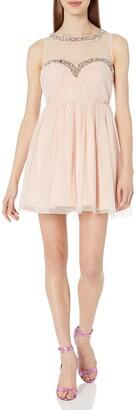 As U Wish Junior's Mesh Beaded Illusion Short Party Dress