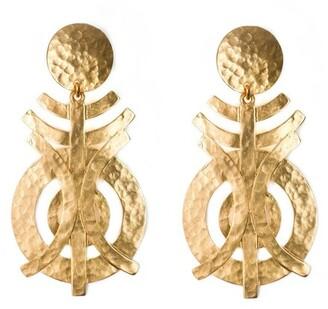 Gold Geo Clip Earrings