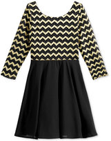 Sequin Hearts Chevron-Stripe Dress, Big Girls (7-16)