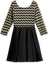 Sequin Hearts Chevron-Stripe Dress, Big Girls (7-16)