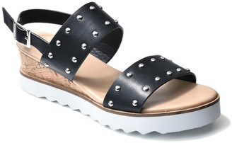 Nicole Miller Cameo Studded White Sole Wedge Sandal