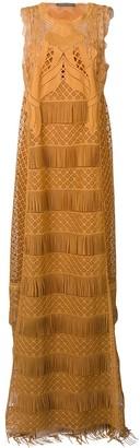 Alberta Ferretti Fringed Flared Maxi Dress