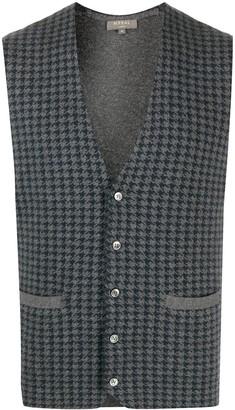 N.Peal V-neck houndstooth pattern cardigan