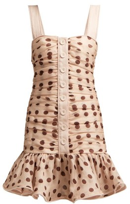 Zimmermann Corsage Polka-dot Linen-blend Mini Dress - Womens - Light Pink