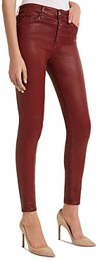 AG Jeans Farrah Faux-Leather Ankle Skinny Jeans in Vintage Leatherette Rich Crimson