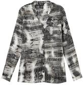 Haggar Women's Button Front Print Tunic Blouse