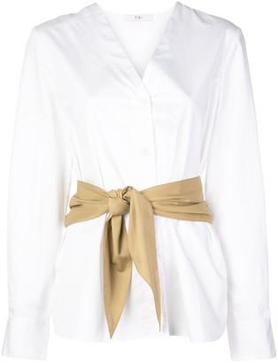 Tibi Collarless Belted Shirt
