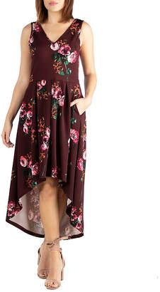 24/7 Comfort Apparel 24/7 Comfort Hi Low Floral Dress-Maternity