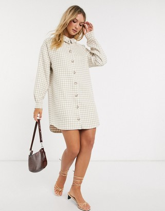 ASOS DESIGN boucle mini shirt dress in houndstooth